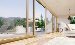 Dom na czasie - wysokie okna, nowoczesne przesłony okienne